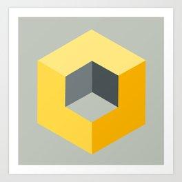 'Iso-Cube Yellow' Art Print