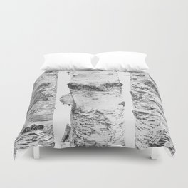 Birch Trees Landscape Photography | Black and White | black-and-white | bw Duvet Cover