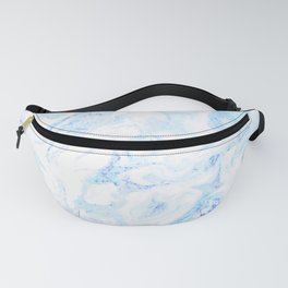 White Marble with Pastel Blue Purple Teal Glitter Fanny Pack