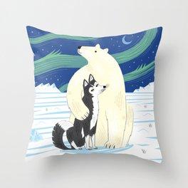The Polar Bear and The Husky Throw Pillow