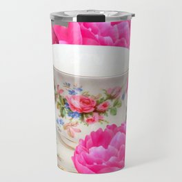 FLORAL TEA CUP & PEONY FLOWERS YELLOW ART Travel Mug