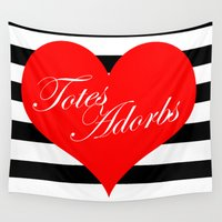 totes Wall Tapestries featuring Totes Adorbs Red Heart  by The Trendy Sparrow