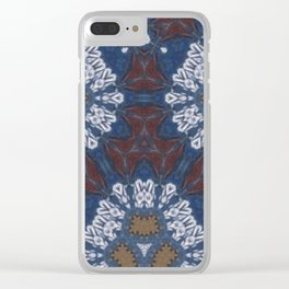 Blue Earth Pattern Clear iPhone Case
