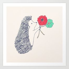 Birthday Hedgehog Art Print