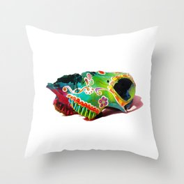 Colorsfull sheep skull Throw Pillow