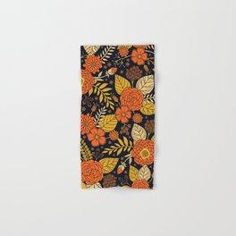 Retro Orange, Yellow, Brown, & Navy Floral Pattern Hand & Bath Towel