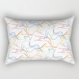 Nude Figures in Primary Colors Rectangular Pillow