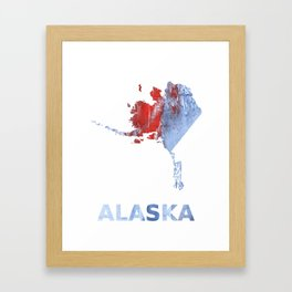 Alaska map outline Red blue steel colorful wash drawing design Framed Art Print