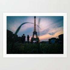 The Eiffel Tower during a summer evening. Art Print
