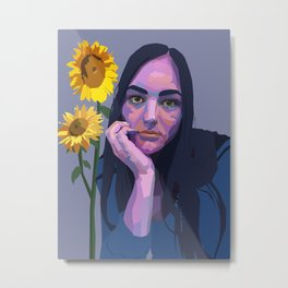 emma with sunflowers Metal Print