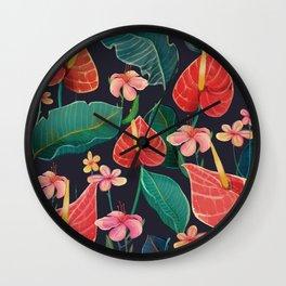 watercolor tropical flowers Wall Clock