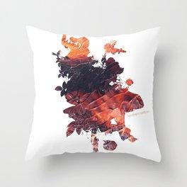 Mask Flow Fire Throw Pillow