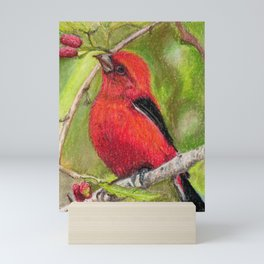 Raspberries Red Bird Nature Art Scarlet Tanager by Laurie Leigh Mini Art Print