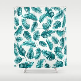 Tropical Palm Leaf Pattern Shower Curtain