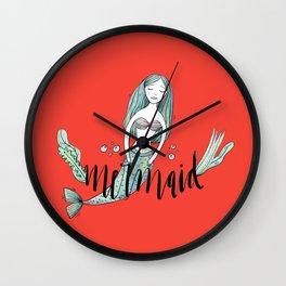 Art red sleeping mermaid Wall Clock