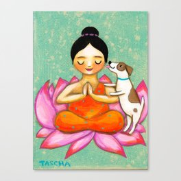 Meditating Yoga Girl with Dog painting ZEN art by Tasc Canvas Print
