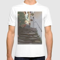 Italian Street and Stairs  White MEDIUM Mens Fitted Tee