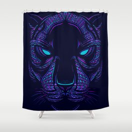 Aztec Panther Face Shower Curtain