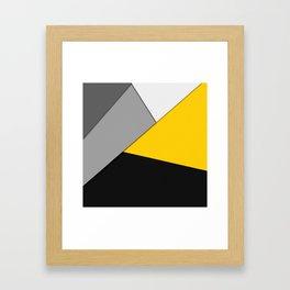 Simple Modern Gray Yellow and Black Geometric Framed Art Print