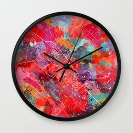 College Station map Texas painting 2 Wall Clock
