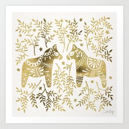 Swedish Dala Horses – Gold Palette Art Print