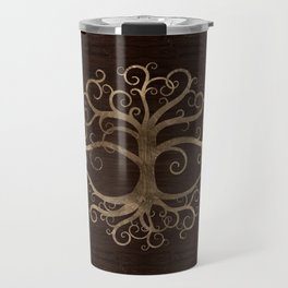 Tree of life Gold on Wooden Texture Travel Mug