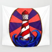 lighthouse Wall Tapestries featuring Lighthouse by Shelly Lukas Art