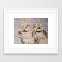 otters Framed Art Prints featuring Otters by Caesarie