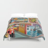 budapest Duvet Covers featuring Greetings from Budapest by Zsolt Vidak