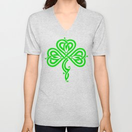 Pretty Celtic Knot Style Shamrock Irish Pride Unisex V-Neck