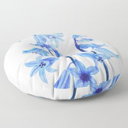 botanical bluebell flowers watercolor Floor Pillow