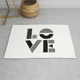 LOVE black-white contemporary minimalist vintage typography poster design home wall decor bedroom Rug
