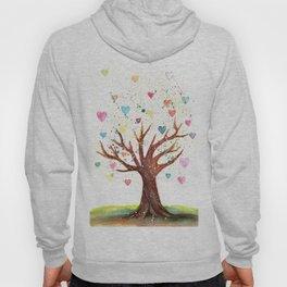 Heart Tree Watercolor Illustration Hoody