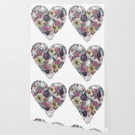 Flowers, Birds & A Heart Wallpaper