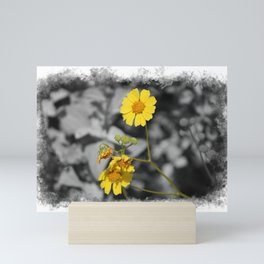Butter Yellow Brittle Bush on Gray Selective Color Mini Art Print