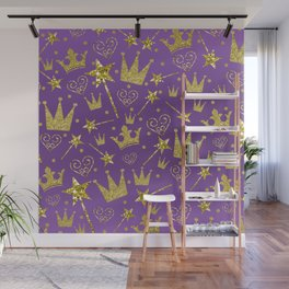 Purple & Gold Glitter Princess Wall Mural