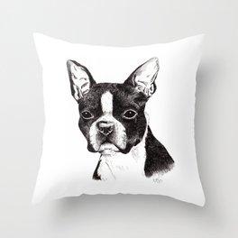 Boston Terrier Portrait Throw Pillow