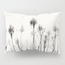 Dried Tall Plants and Flying White Birds Pillow Sham