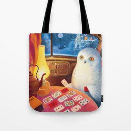 Snow Owl In The Old Car Tote Bag