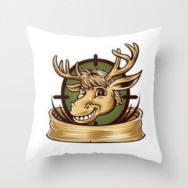 Cartoon Deer mascot  Throw Pillow