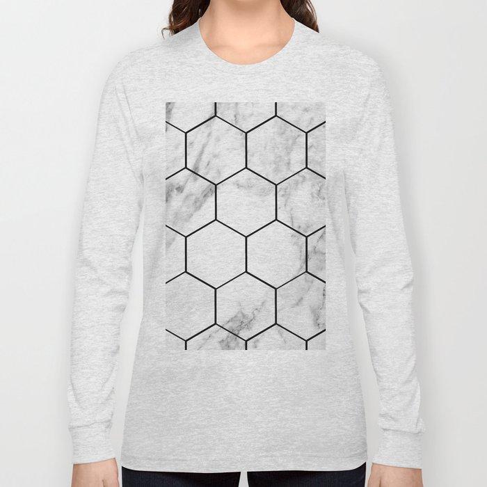Marble hexagonal tiles - geometric beehive Long Sleeve T-shirt