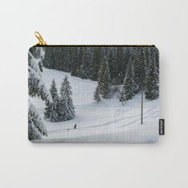 Uphill through the deep powder snow Carry-All Pouch