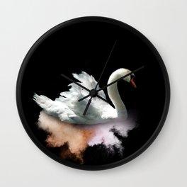 White Swan on Orange Wall Clock