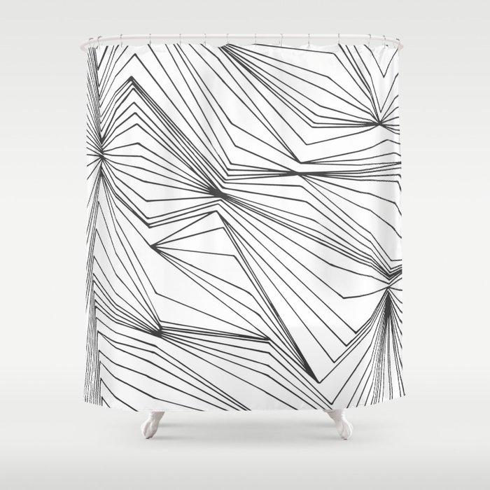 Zig Zag Lines Black Shower Curtain by mattstoll