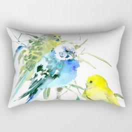 Parakeets green yellow blue bird decor Rectangular Pillow