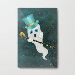 Floating Ghost Top Hat Skull Cane in Night Sky Metal Print