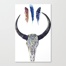 Tribal Skull and Feathers in Blues Canvas Print
