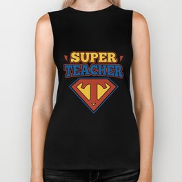 super teacher logo school student career student book school teacher Biker Tank