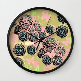 Cactus collage Wall Clock