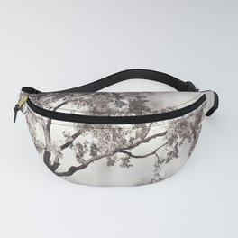 Black and White Tree Branches Photography, Grey Nature Neutral Branch, Gray Mysterious Dark Spooky Fanny Pack